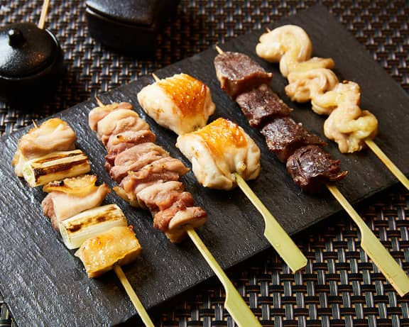 Japanese type of skewered chicken